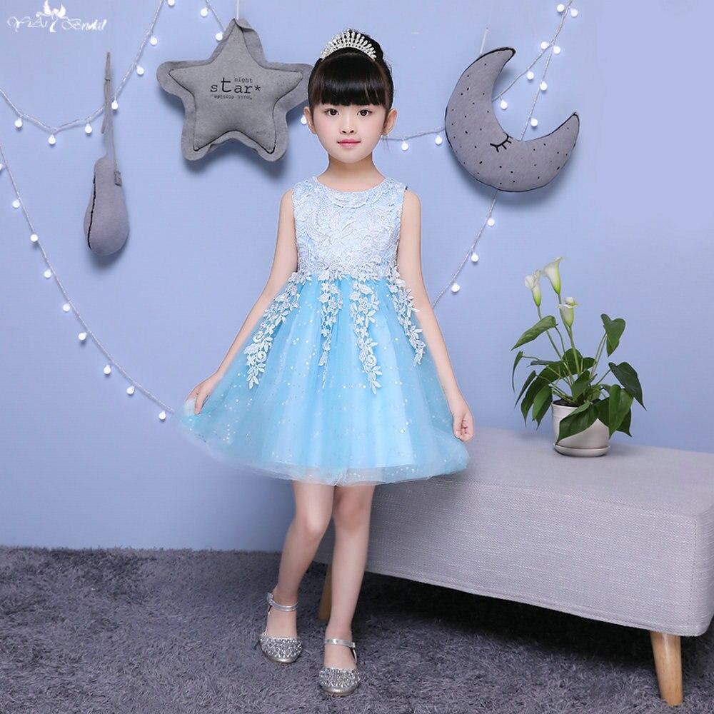TF008 Sleeveless Bow On The Back Kids Sequin Gown Royal Blue   Flower     Girl     Dresses