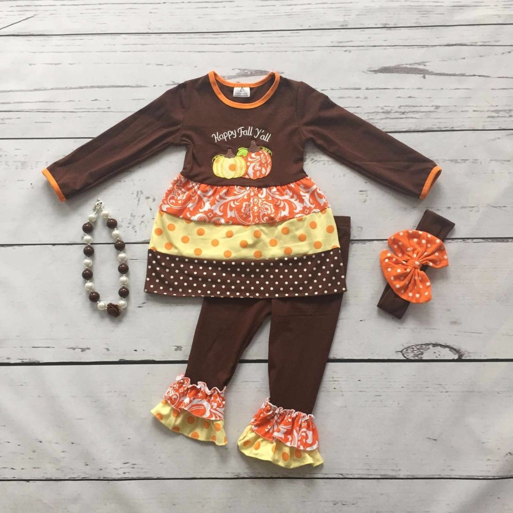 baby girls Fall/Winter thanksgiving clothes happy fall yall pumpkin outfits children brown top polka dot pant with accessories