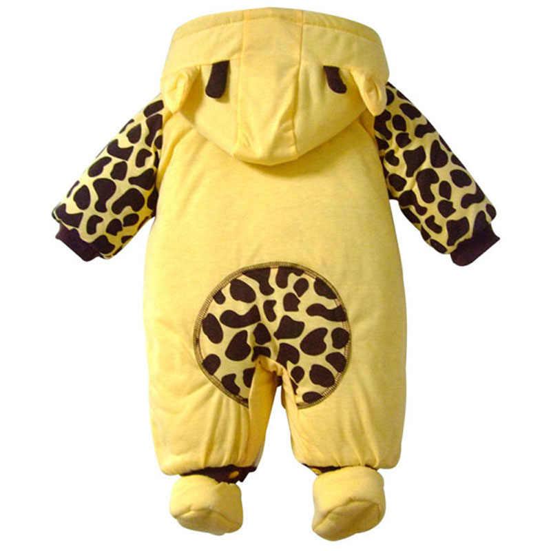 Высокого Качества Теплая дутая куртка зима мультфильм корова и Божья коровка хлопок Спортивный костюм для малышей Костюмы детские ползунки