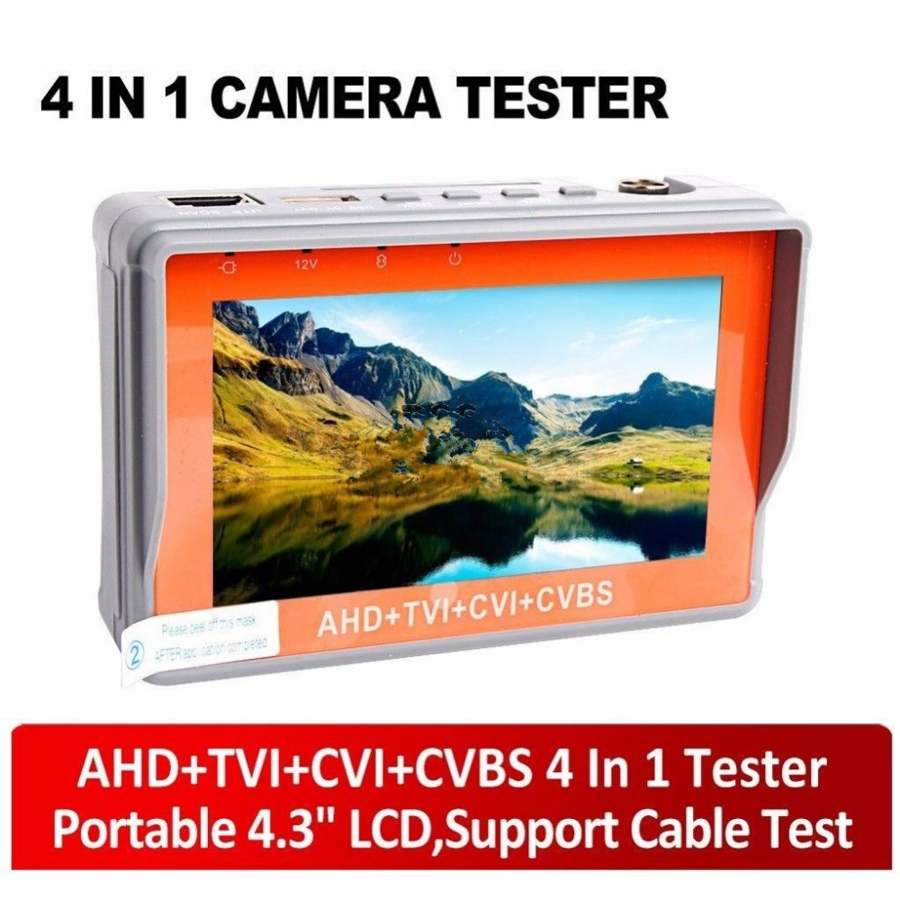 4.3 inch 1080P CCTV Tester AHD CVI TVI Analog CVBS in 1 Camera tester Monitor Support UPT PTZ Audio test DC12V output4.3 inch 1080P CCTV Tester AHD CVI TVI Analog CVBS in 1 Camera tester Monitor Support UPT PTZ Audio test DC12V output