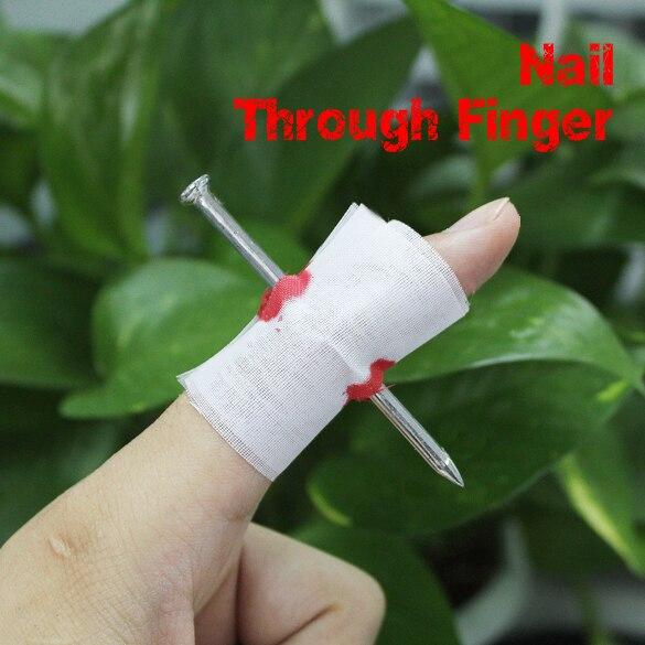 Новый Шутки Шутка игрушки поддельные ногтей через палец Хэллоуин Дети крови ручной работы с бинтом дурака Trick Prop страшные игрушки FJ88 ...