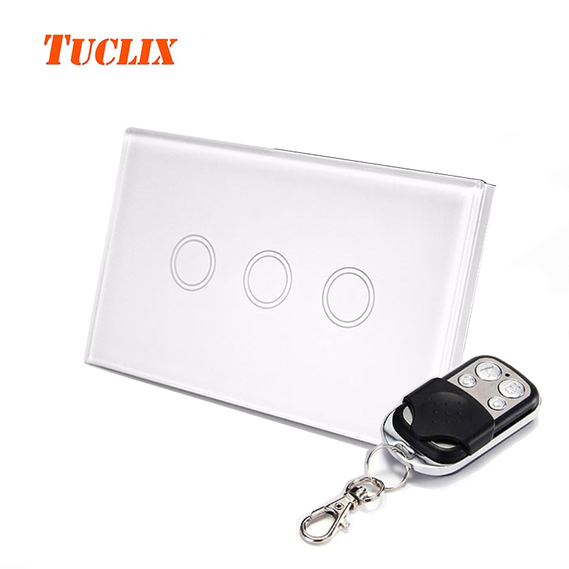 TUCLIX US Standard Remote Control Switches 3 Gang 1 Way,Crystal Glass Switch Panel,Remote Wall Touch Switch control wall switch us standard remote touch black crystal glass panel 1 gang way with led indicator switches electrical