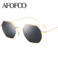 AFOFOO Fashion Hexagon Metal Sunglasses Women Men Luxury Brand Designer Mirror Sun Glasses Clear UV400 Female