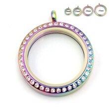 Rainbow Floating Locket Stainless Steel Twist Screw Glass With Rhinestone Memory For DIY Jewelry