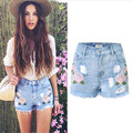 3D Flower Embroidery Denim Shorts Women High Waist Ripped Tassel Jeans Short Summer Style Sexy Retro Hot Shorts A1337