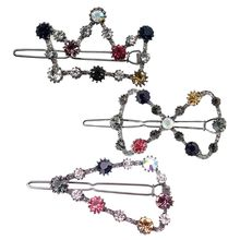 Vintage Hollow Crown Triangle Frog Bobby Pins Women Girls Colored Glitter Rhinestone Hair Clip Decorative Styling Barrettes