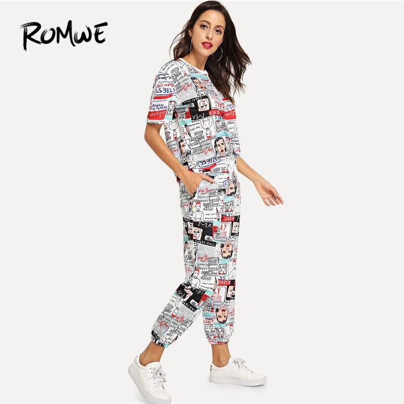ROMWE para estampado de cómic Tee cintura con cordón pantalones nuevo estilo moda mujer primavera otoño 2 piezas conjunto mujer Chic de dos piezas conjunto
