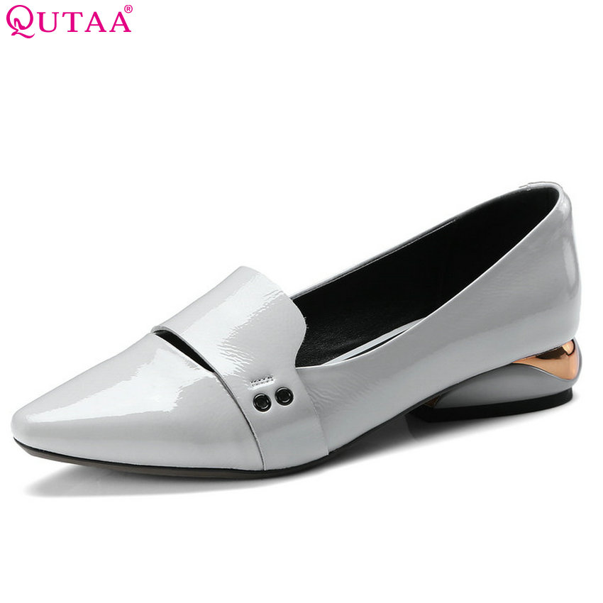 QUTAA 2018 Women Pumps Pointed Toe Genuine Leather Fashion Women Shoes Slip on Square Heel Shallow Wedding Pumps Size 34-42 esveva 2017 ankle strap high heel women pumps square heel pointed toe shoes woman wedding shoes genuine leather pumps size 34 39