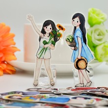 28pcs Hand Drawing cute lovely girls wedding people Stickers happyness Planner Scrapbooking DIY Dry Glue Sticker
