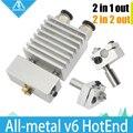 Цельнометаллический Циклопа и Химера Двойного Мульти-экструзии v5 v6 HotEnd Двойной сопла Головы Долго Расстояние Комплект для 1.75 мм 3D принтер