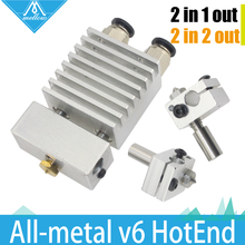 All-metal Cyclops and Chimera Dual Multi-extrusion v5 v6 HotEnd Double nozzle Head Long Distance Kit for 1.75mm 3D printer