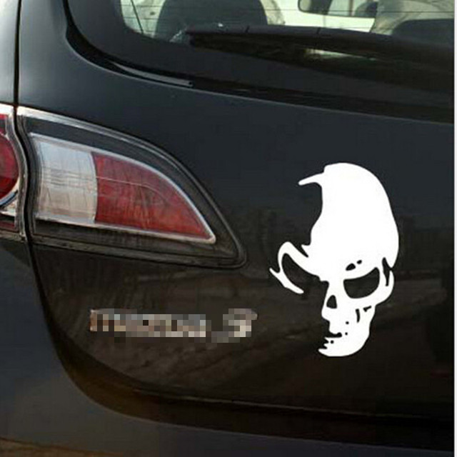 White cool funny skull car truck wall vinyl window decal decals sticker wall decor
