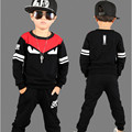 2016 Brand Boy Print Sport Clothes Set For Autumn Spring Kid Long Sleeve Top +Pants Boy School HIip Hop Clothes Set Kid Clothes