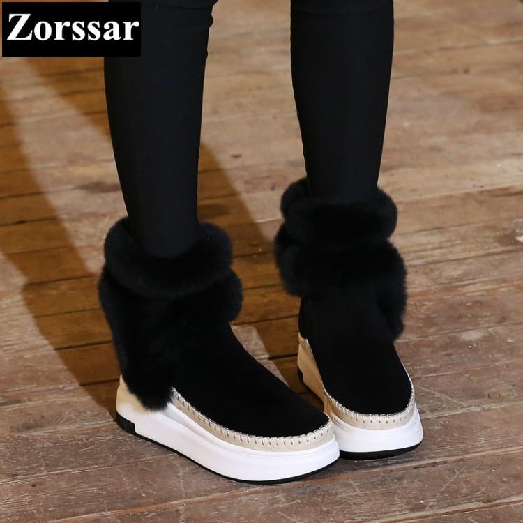 De Chaussures Daim Hiver gris Noir Fourrure Peluche Classique Nouvelle Plat {zorssar} Femme Arrivée En 2017 Neige Courtes Cheville Chaud Femmes Bottes R5AL34j