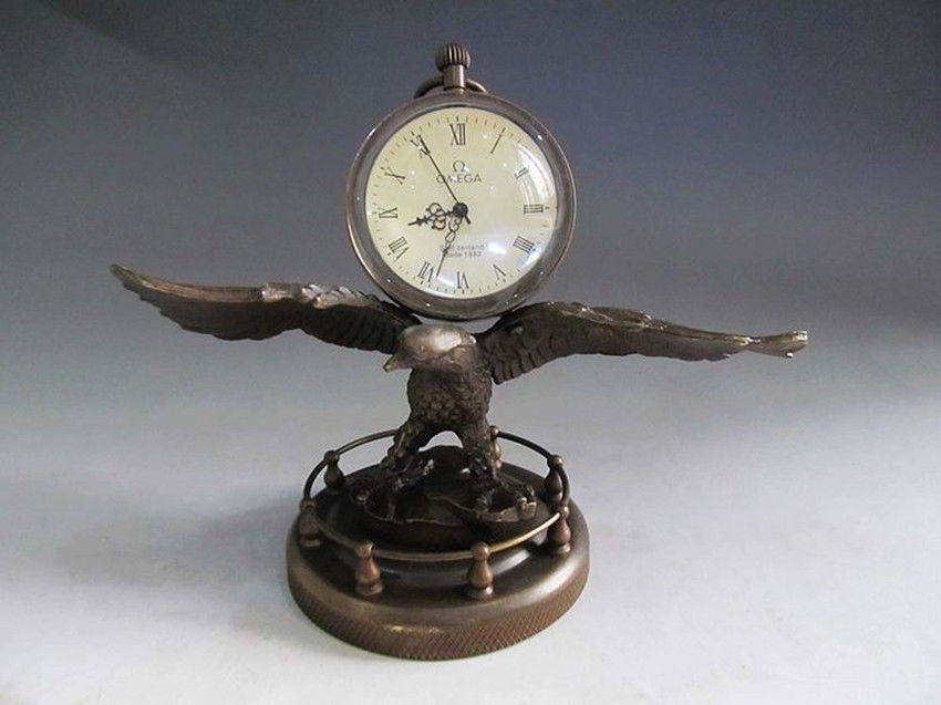 Chinese Collect Bronze Copper Eagle Sculpture Mechanical Clock Watch Statue Wholesale Factory Bronze Arts Outlets