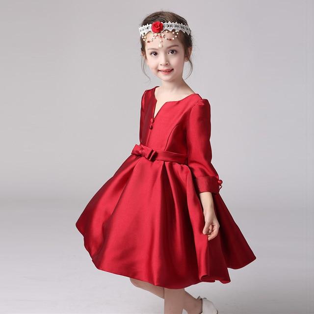 Chica elegante princesa flor vestido Formal para Gilrs vino rojo Vestidos  niños ropa fiesta Ropa para 3393bdb2edbf