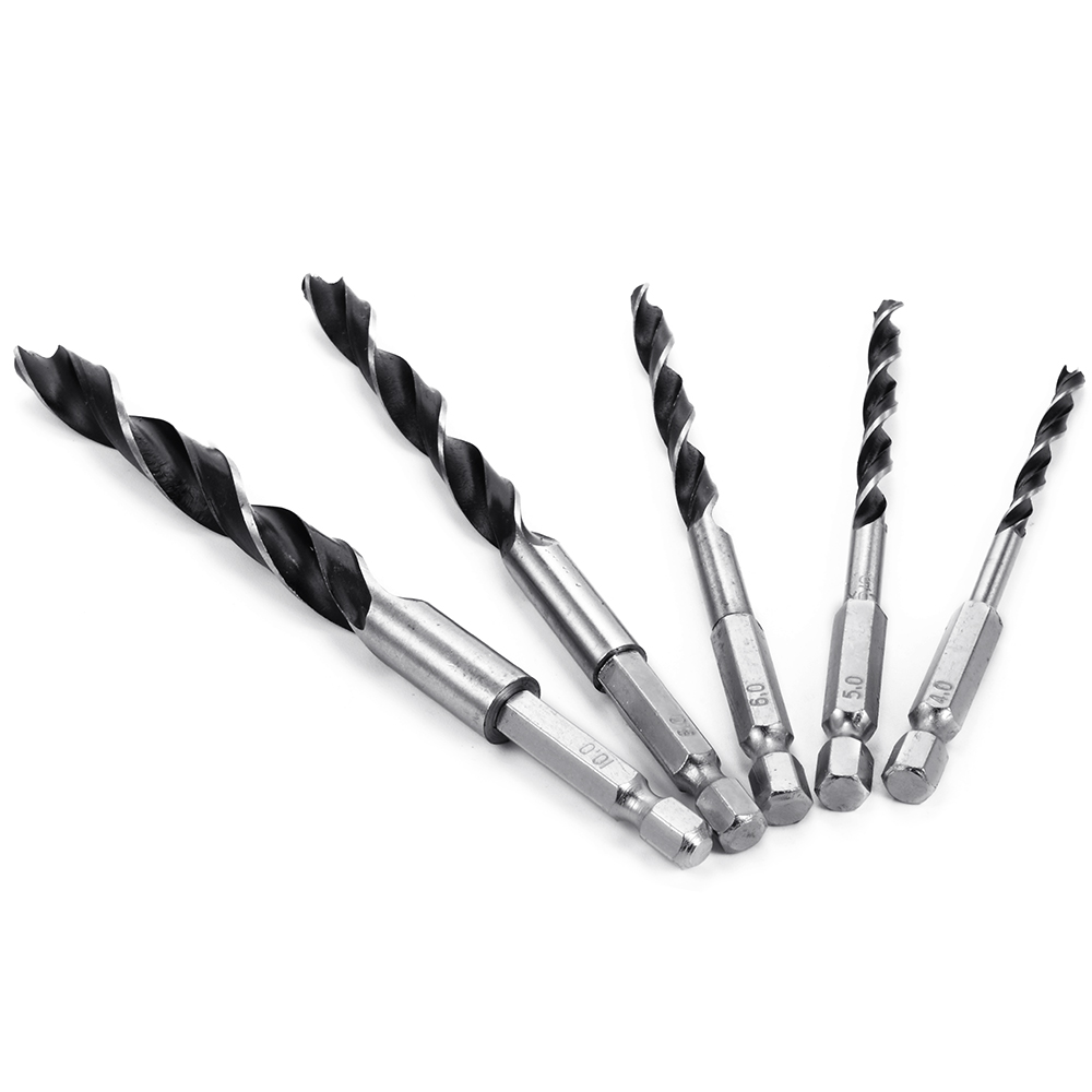 Подробнее о 5pcs 4-10mm Hex Shank Brad Point Drill Bit Set Tools for Home Woodworking BI160 uxcell 7mm boring dia 10mm shank brad point solid carbide dowel drill bit
