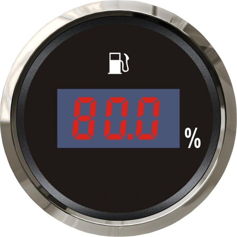 1 pc tout nouveau indicateur de niveau d'huile numérique indicateurs de niveau de carburant 12 V/24 V jauges de carburant étanche pour bateau Automobile avec lumière noire