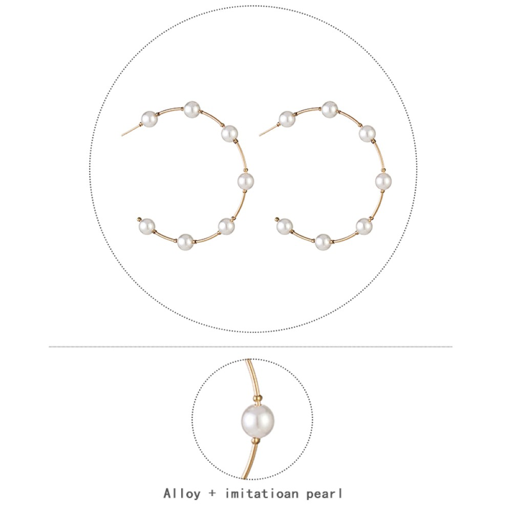 HTB1 3W U5rpK1RjSZFhq6xSdXXaU - New Boho White Imitation Pearl Round Circle Hoop Earrings Women Gold Color Big Earings Korean Jewelry Brincos Statement Earrings