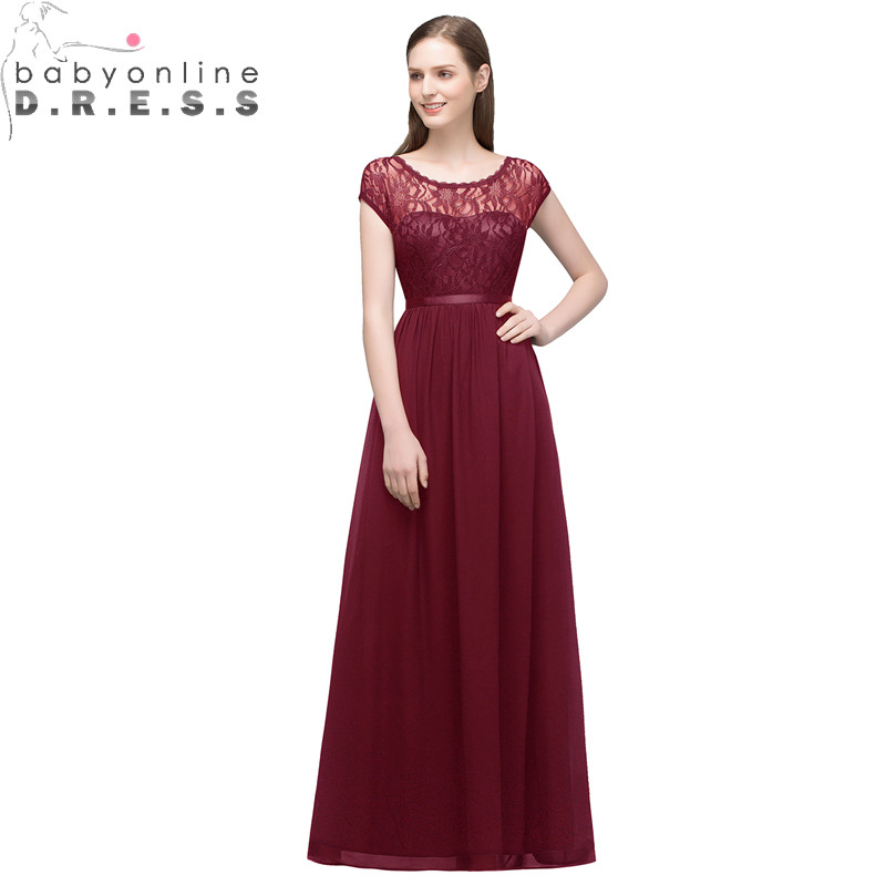 Babyonlinedress Charming Long Lace Chiffon   Bridesmaid     Dresses   Sexy Open Back Wedding Party   Dress   Robe Demoiselle D'honneur