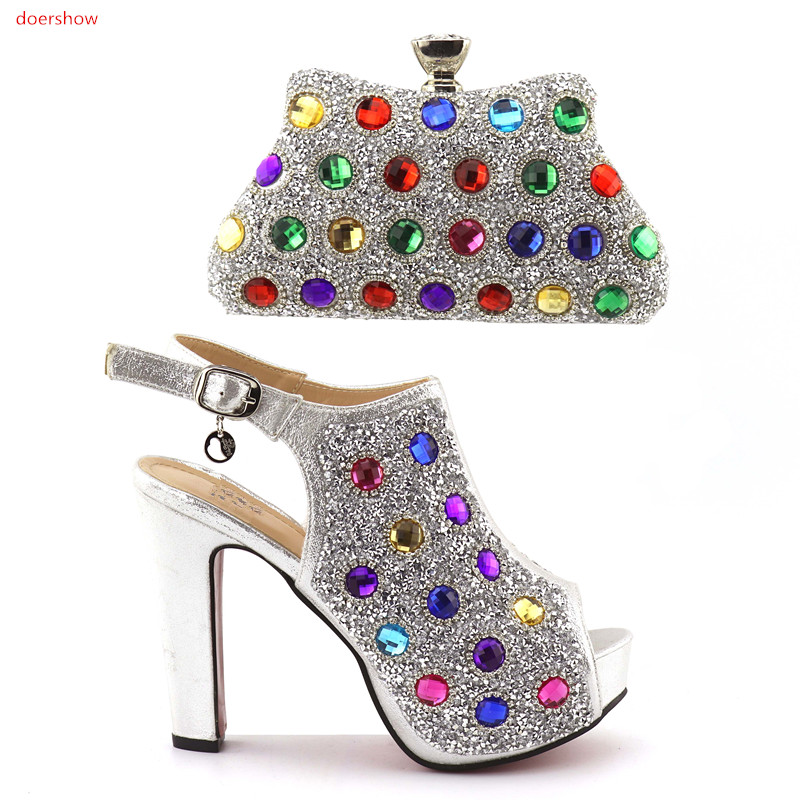 doershow silver Shoes and Bag Set Decorated with Rhinestone High Quality Matching Italian Shoes and Bag for Wedding HQQ1-15 silver color italian shoes with matching bag high quality italy shoe and bag set for wedding and party high heels shoes me1102