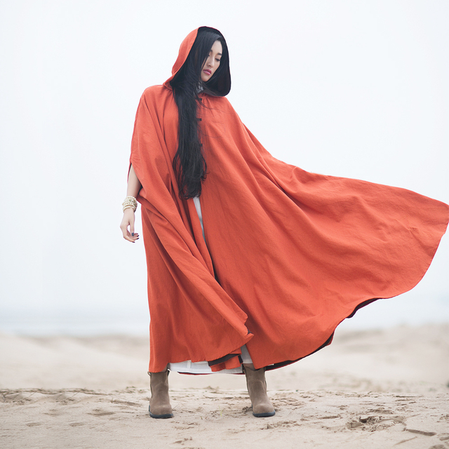 MM062 New Arrival Autumn 2016 vintage oversized long maxi hooded reversible cotton and linen cloak women trench coat