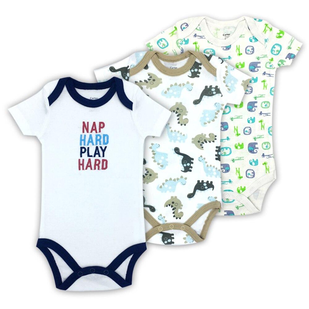 Baby Bodysuit Infant Jumpsuit Short Sleeve Clothing Set Summer Cotton 3 Pcs//lot