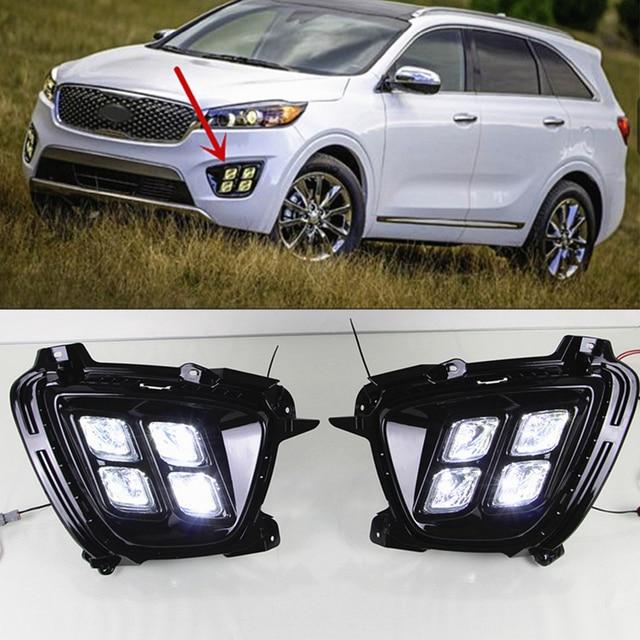 Araba yanıp sönen 1 takım KIA Sorento 2015 2016 2017 için LED DRL gündüz çalışan far günışığı su geçirmez 12v sis lambası araba Styling