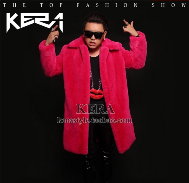 S-5XL NEW Winter Fashion tide GD Bigbang rights Zhi-long DJ rose red  long fur coat Men's DJ singer costumes plus size clothing