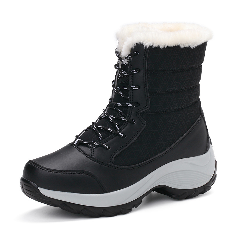 2019 New Women Boots High Quality Leather Suede Winter Boots Women Keep Warm Lace-up Waterproof Snow Boots 4