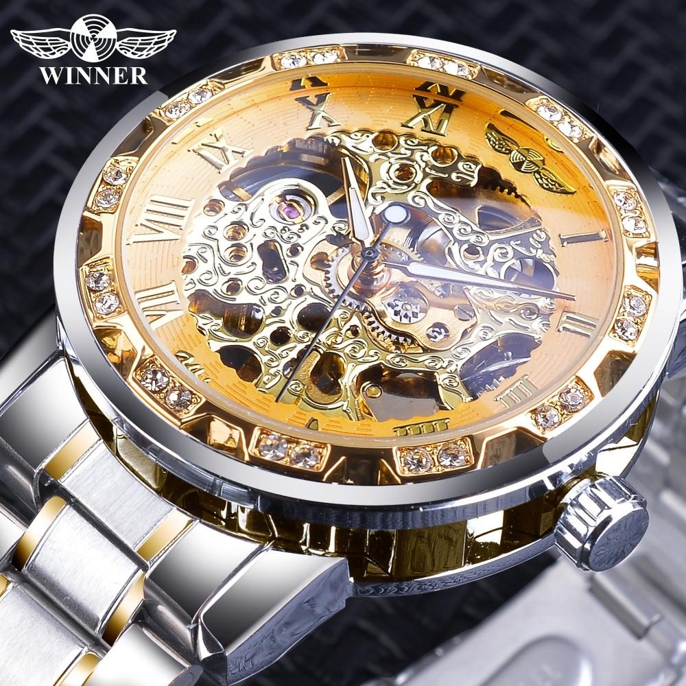 Winner Golden Skeleton Watches Luxury Diamond Design Silver Stainless Steel Men's Mechanical Wrist Watches Luminous Male Clock