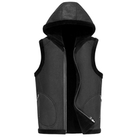 Brand Leather hooded Vest Mens Clothing Real Sheepskin Waistcoat Winter Autumn Soft Black Mens Gilet Motorcycle Jacket