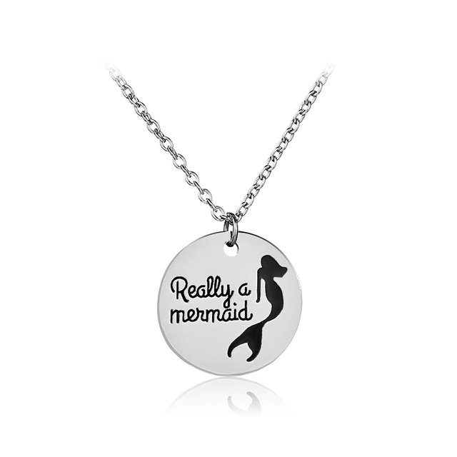Really a mermaid Necklace for daughter Creative Letter mermaid Necklaces Pendants Fish tail jewelry Long Necklace