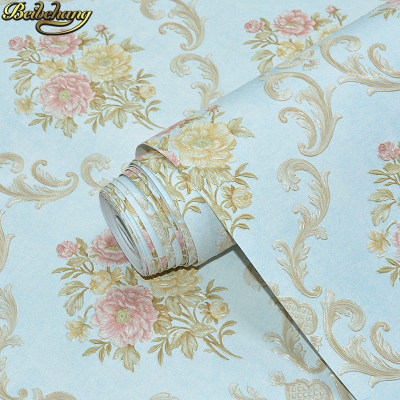 beibehang Embossed American pastoral flowers Wallpaper Roll Floral Non-woven Wall Paper wallpaper for walls 3 d living room beibehang wall paper pune girl room cartoon children s room bedroom shop for environmental non woven wallpaper ocean mermaid