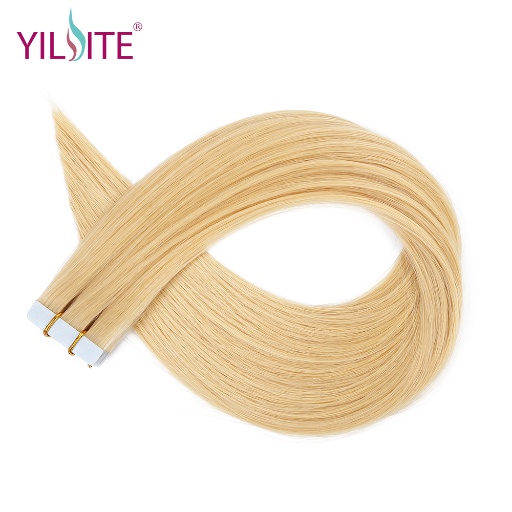YILITE Tape In Remy Human Hair Extensions Double Drawn Straight Hair Invisible Skin Weft ...