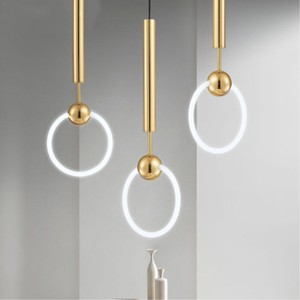Image 1 - Nordic Art LED Loft Creative Concise Style Dining Room Pendant Lamp Gold Ring Cafe Restaurant Decoration Lamp Free Shipping