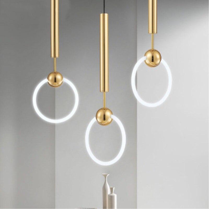 Nordique Art LED Loft créatif Style concis salle à manger suspension lampe or anneau café Restaurant décoration lampe livraison gratuite