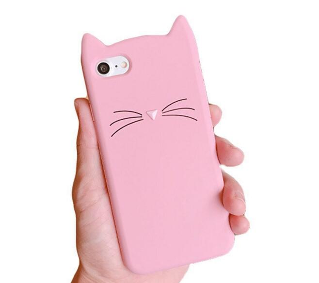 Funda de silicona 3D Cute Cat Beard para iPhone 7 Plus Adorable - Accesorios y repuestos para celulares - foto 4
