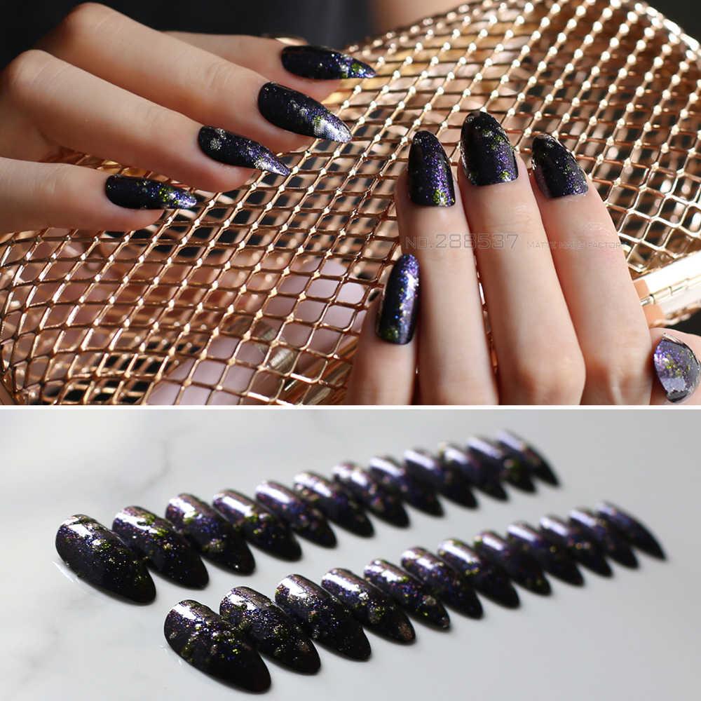Szpilki paznokci akrylowe 24 sztuk niebieski lub żółty srebrny 3D brokat DIY Galaxy moda wskazał fałszywe paznokcie średni migdałów fałszywe paznokci