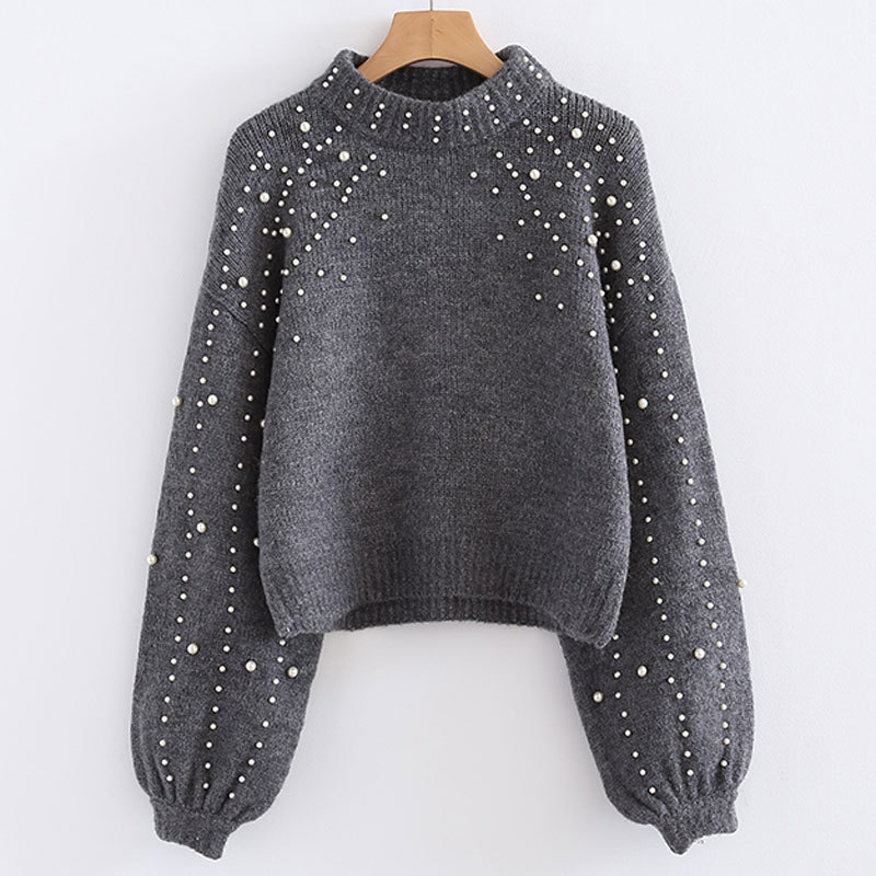 NORMOV Pearl inlay Knitted sweaters woman Sexy Short paragraph Autumn Winter Large size warm sweaters Lantern sleeve in Pullovers from Women 39 s Clothing