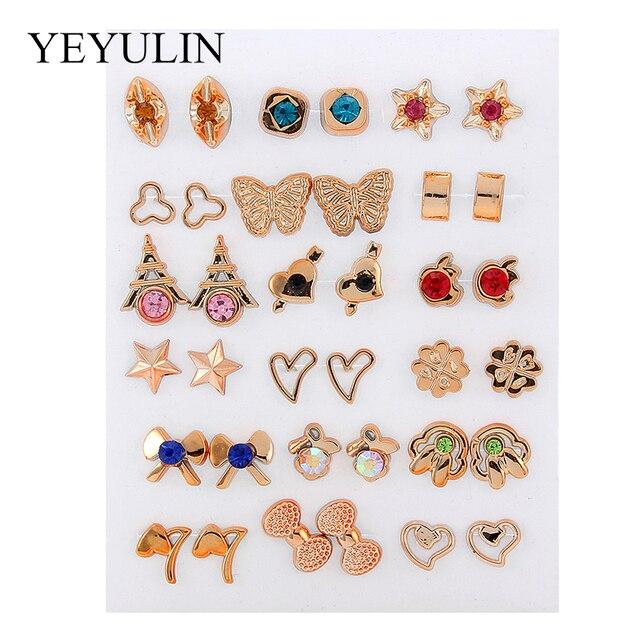 36Pairs/18pairs Earrings Mixed Styles Rhinestone Sun Flower Geometric Animal Plastic Stud Earrings Set For Women Girls Jewelry 3