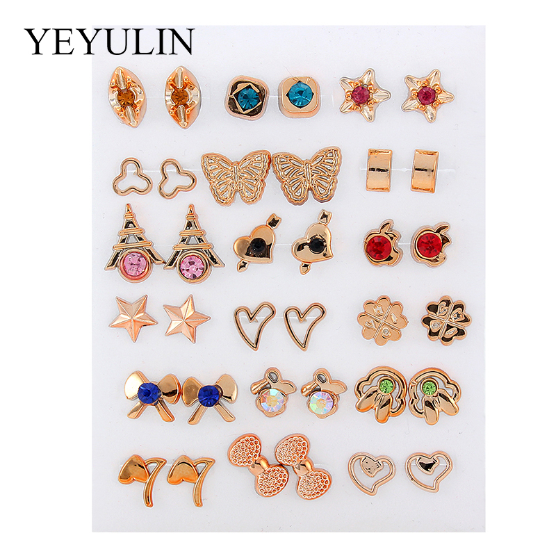Wholesale 36Pairs 18pairs Mixed Styles Rhinestone Sun Flower Geometric Animal Plastic Stud Earrings Set For Women Girls Jewelry in Stud Earrings from Jewelry Accessories