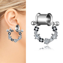 2019 1PCS Stainless Steel Ear Plugs and Tunnels Piercings White Crystal Flower Expansion Ear Tunnel Stretched Fesh Body Jewelry