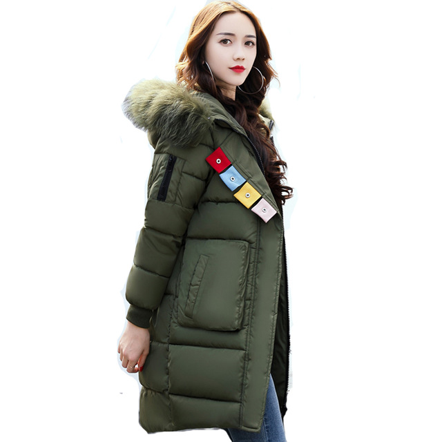 2017 big fur collar plus size women winter coat female outerwear parka ladies thick warm long jacket slim jaqueta feminina 1843 plus size winter jacket parka women long coat big hooded fur collar loose female clothes thick warm woman jackets ladies coats