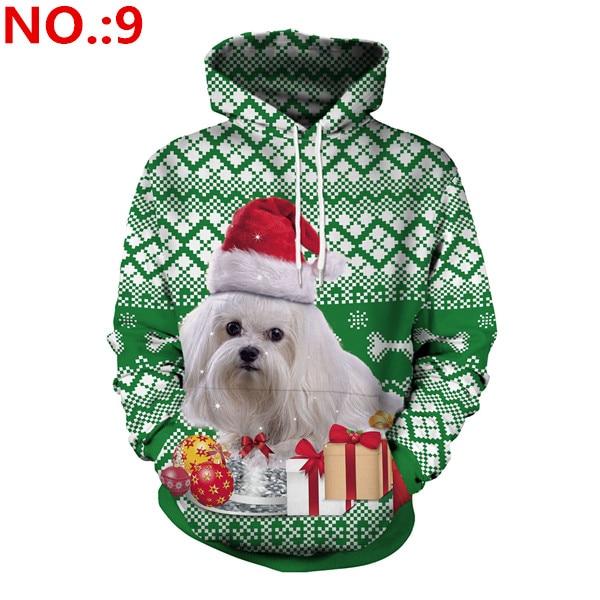 European style women/men loose hooded sweatshirts Christmas print hoodies Chic women cartoon print pullovers tops D546