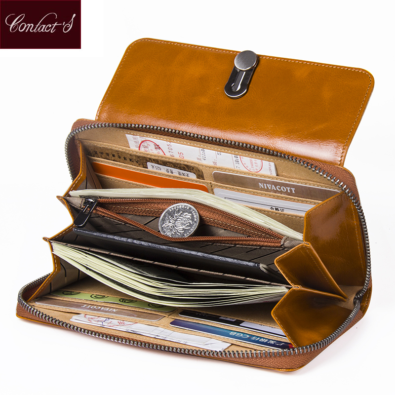 High Capacity Fashion Women Wallets Long Brand Design 2018 Retro Genuine Leather Wallet Clutch Coin Purse Lady Red Black Camel