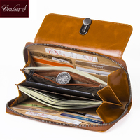 High Capacity Fashion Women Wallets Long Brand Design 2018 Retro Genuine Leather Wallet Clutch Coin Purse