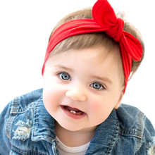 2018 New Baby Girl Solid Knot Headband Kids Cotton Turban Knitted Hair Accessories Children Cross Headwear for Children KT016