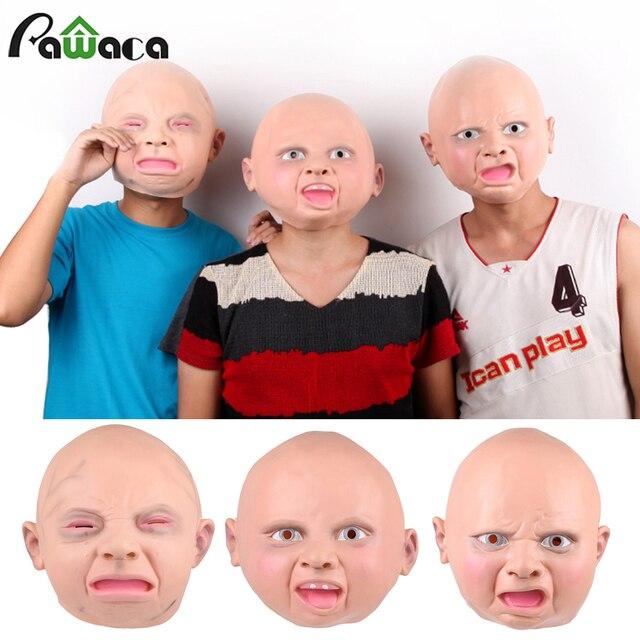 Мужская и женская латексная маска для взрослых капюшон реалистичный полный лицо улица Забавный отвращение счастливый плач Детские Вечерние Маски для хеллоуина карнавал