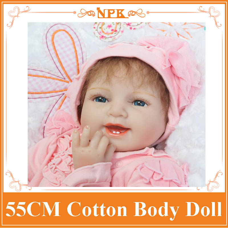 Unique 55cm 22inch Happy Smile Silicone Baby Doll For Sale With Pink Soft One Piece Rompers Whole Sale Good Price Bebe Reborn navy monkey with smile